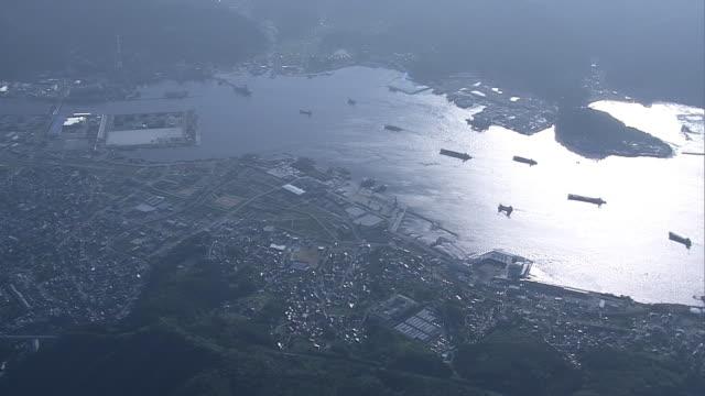 vídeos y material grabado en eventos de stock de aerial, ofunato bay, iwate, japan - vista de población