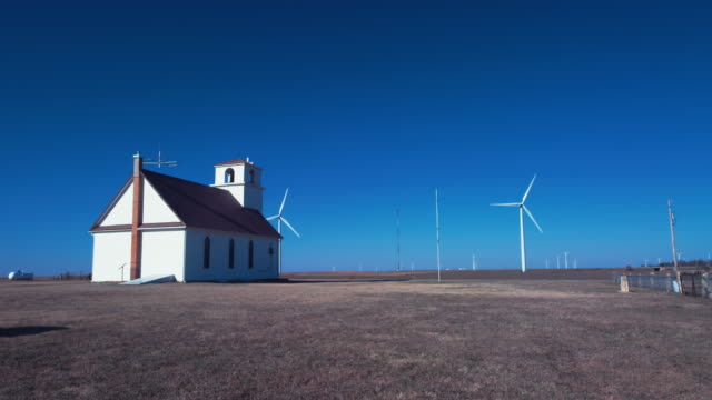 ohio church and wind farm - great plains stock videos & royalty-free footage