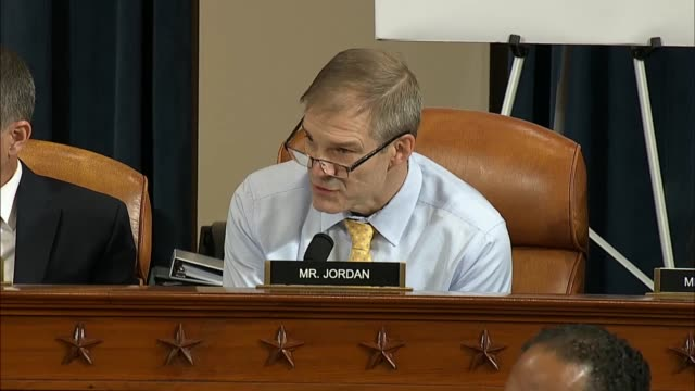 ohio congressman jim jordan asks house select intelligence committee chairman adam schiff of california the first public impeachment inquiry hearing... - whistleblower human role stock videos & royalty-free footage