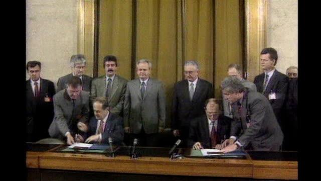 ohio: dayton: leaders including karadzic at signing of dayton peace accord - dayton ohio stock videos & royalty-free footage