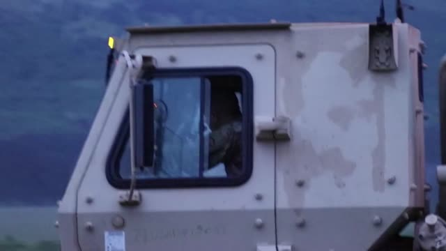 stockvideo's en b-roll-footage met ohio national guard army soldiers travel in convoy in divaca slovenia for exercise astral knight 19 a joint and multinational exercise that will... - commercieel landvoertuig