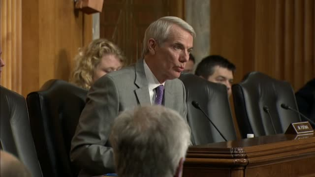 ohio senator rob portman asks iowa governor terry branstad at his nomination hearing to be ambassador to china about dumping in the steel market by... - intellectual property stock videos and b-roll footage