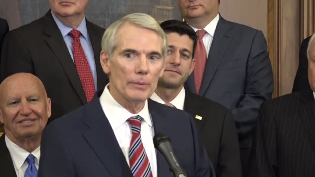 ohio senator rob portman says at a press conference with congressional republicans that a unified framework for tax reform that he likes the energy... - new chance stock videos & royalty-free footage
