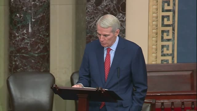 ohio senator rob portman says in senate floor remarks that in labs all around america some of the best and brightest minds were at work on therapies... - christopher a. wray stock videos & royalty-free footage