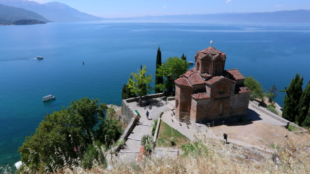 ohrid, view of the church of saint john kaneo in the ohrid lake. - circa 13th century stock videos & royalty-free footage