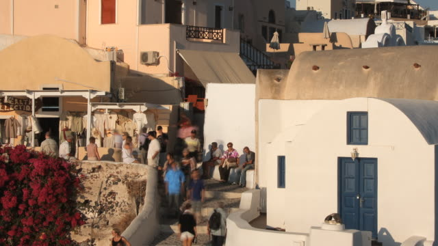 oia castle stairway evening tl - oia santorini stock videos & royalty-free footage