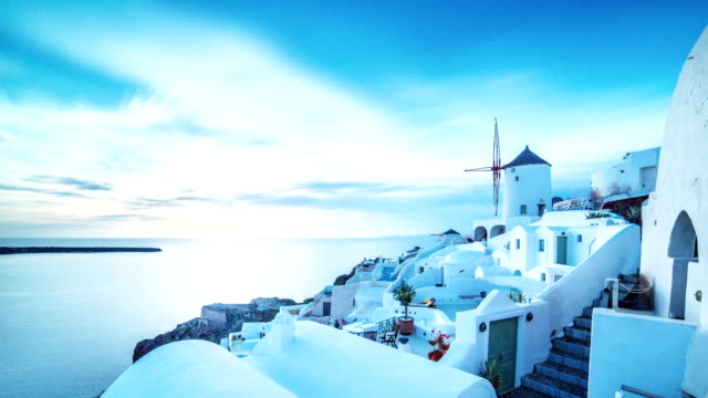 oia city, santorini, time-lapse - greece stock videos & royalty-free footage