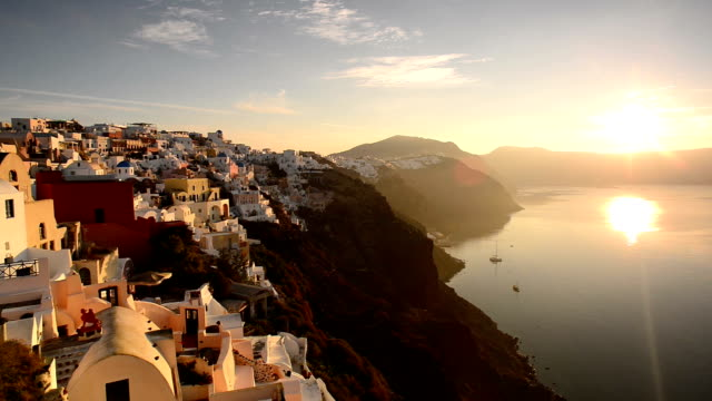 oia, santorini, greece at sunrise - oia santorini stock videos & royalty-free footage
