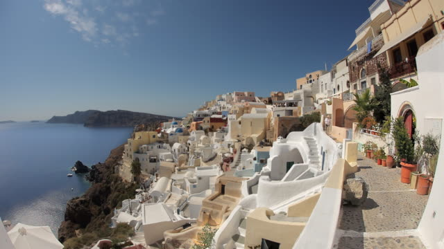 oia towards castle day rt 1b - oia santorini stock videos & royalty-free footage