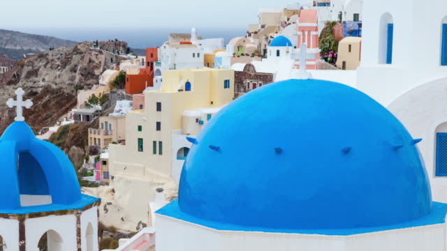 oia village in santotini island - oia santorini stock videos & royalty-free footage