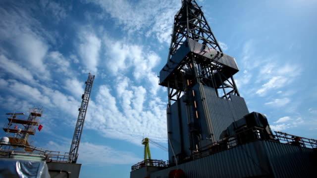 oil drill platform sailing under sky