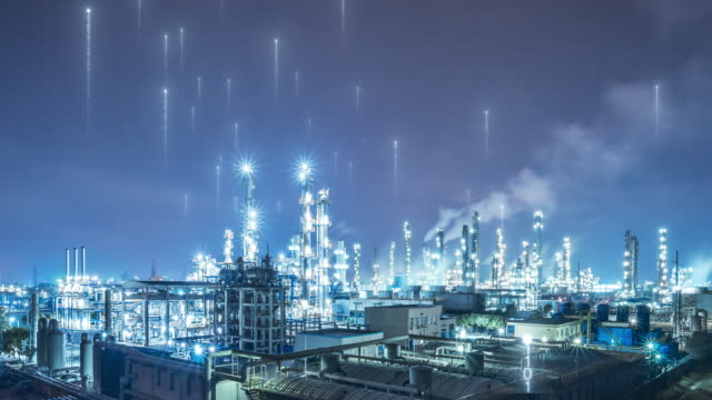 oil factory with smart factory concept - refinery stock videos & royalty-free footage