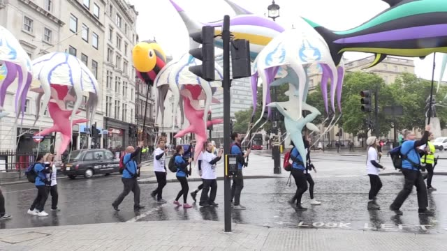 stockvideo's en b-roll-footage met oil giant bp had its international headquarters besieged by inflatable sea creatures as environmentalists protested over a forthcoming drilling... - bp