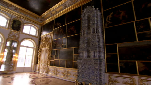 Oil paintings and ornate carvings cover the walls in The Picture Room in the Catherine Palace. Available in HD.