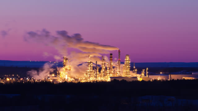 T/L LS Oil, petroleum Refinery at sunrise / Quebec City, Quebec, Canada