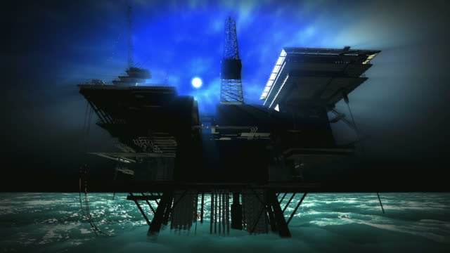 stockvideo's en b-roll-footage met oil platform engulfed by foggy moonlit night - arctis