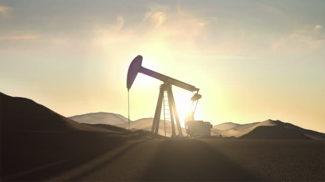 stockvideo's en b-roll-footage met oil pump at sunrise (looping) - droog