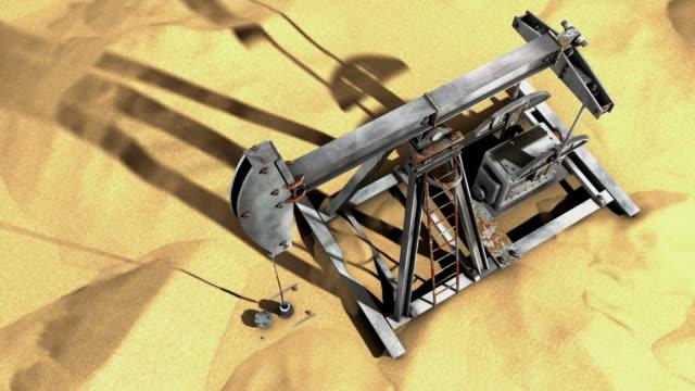 vidéos et rushes de pompe à huile dans le désert (boucle), vue de haut en bas - kérosène