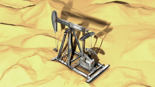 vídeos de stock e filmes b-roll de bomba de óleo no deserto (3d, loop - old illustration