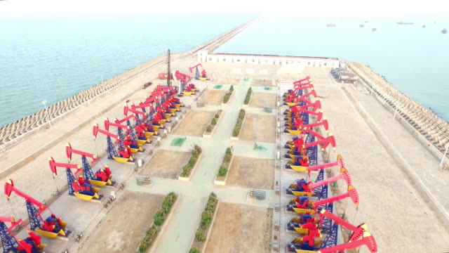Oil pump on see in shandong,china,shoot by drone 4k