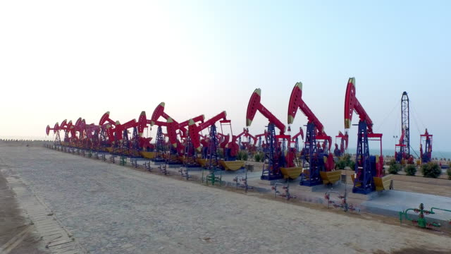 Oil pump on see in shandong,china,shoot by drone