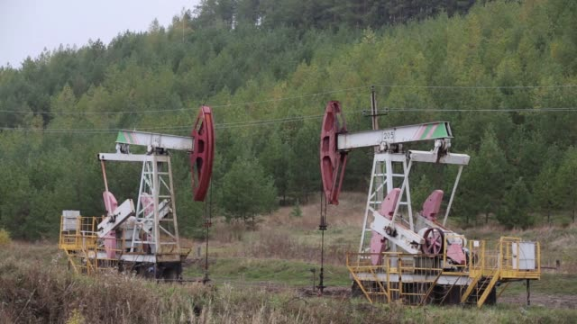Oil pumping jacks also known as a nodding donkeys operate in an oilfield operated by Bashneft PAO near Ufa Russia on Wednesday Sept 28 201