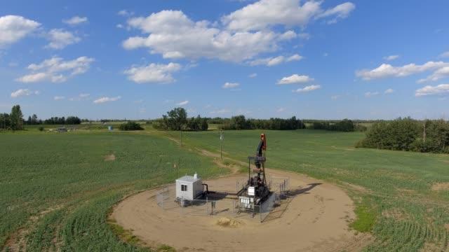 oil pumpjack aerial view - pump jack stock videos and b-roll footage