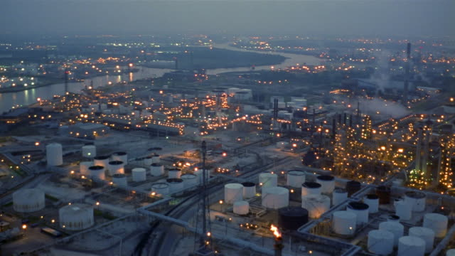 AERIAL oil rafinery at night  Texas City  Texas  USA