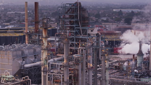 oil refinery - aerial view - port of los angeles stock videos & royalty-free footage