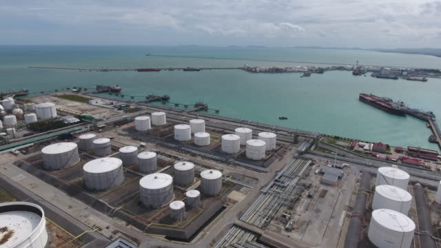 Oil Refinery and Chemical Plant with Complex Pipe in Aerial View