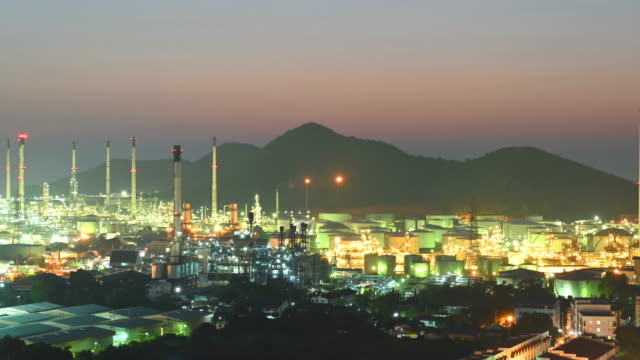 oil refinery and oil tank and chemical plant from air bird eye view, factory, industrial and energy concept. - イラン点の映像素材/bロール