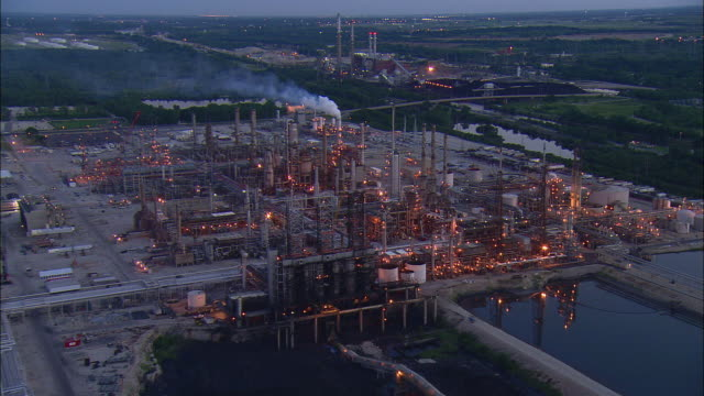 AERIAL Oil refinery at dusk, Romeoville, Illinois, USA