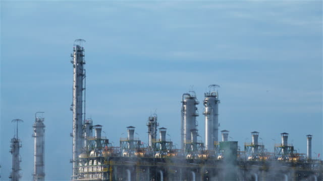 oil refinery emitting greenhouse gases. - alberta stock videos & royalty-free footage