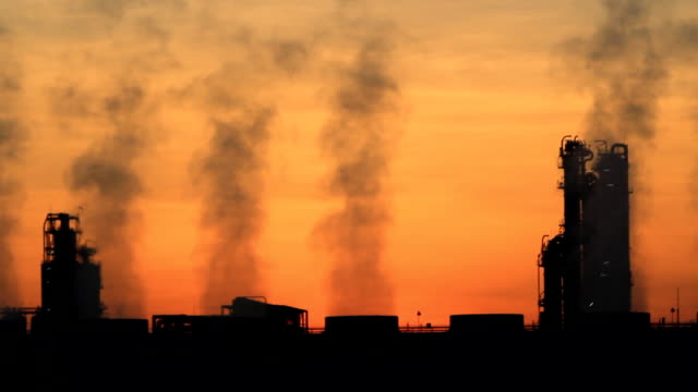 oil refinery plant morning twilight - smoked food stock videos and b-roll footage