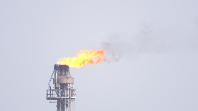 oil refinery plant with burning torch. - fuel crisis stock videos and b-roll footage