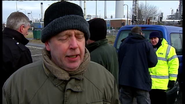 oil refinery protests over foreign workers / vox pops; england: lincolnshire: immingham: ext vox pops - lincolnshire stock videos & royalty-free footage