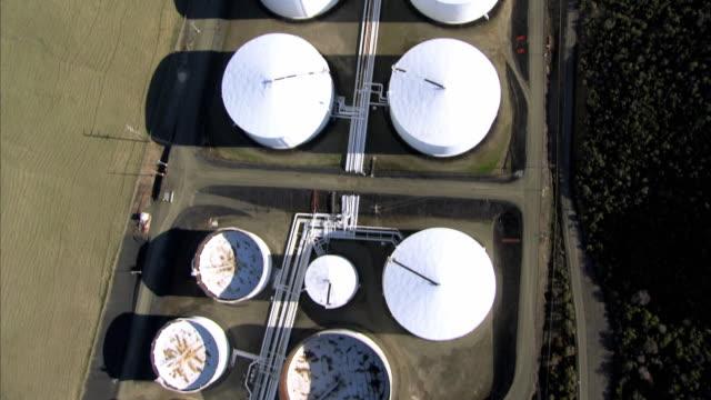 aerial oil refinery storage tanks / san francisco, california, usa - fuel storage tank stock videos and b-roll footage