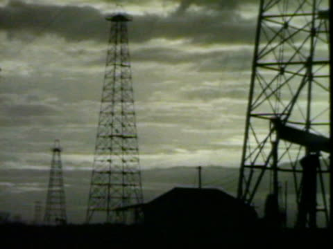 Oil rig and power lines