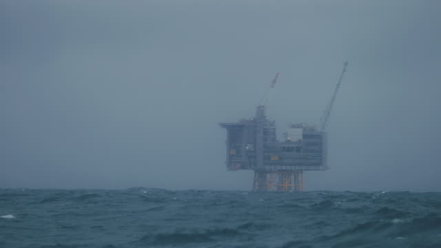 oil rig offshore platform in the north sea - oil rig boat stock videos & royalty-free footage