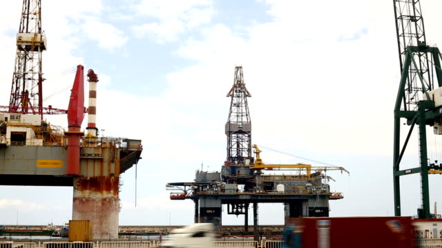 oil rig, panning - oil exploration platform stock videos & royalty-free footage