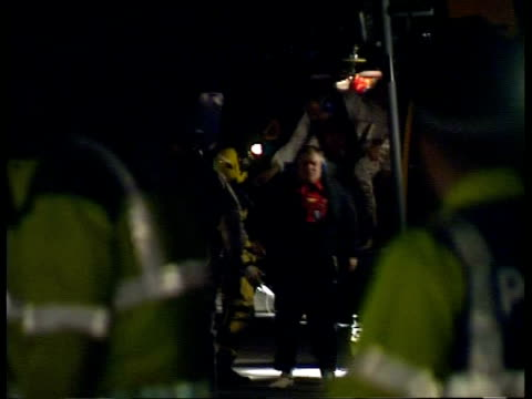 oil rig supply ship capsizes off shetland shetland members of rescued crew from capsized oil rig support vessel bourbon dolphin along from helicopter - oil rig supply ship stock videos and b-roll footage