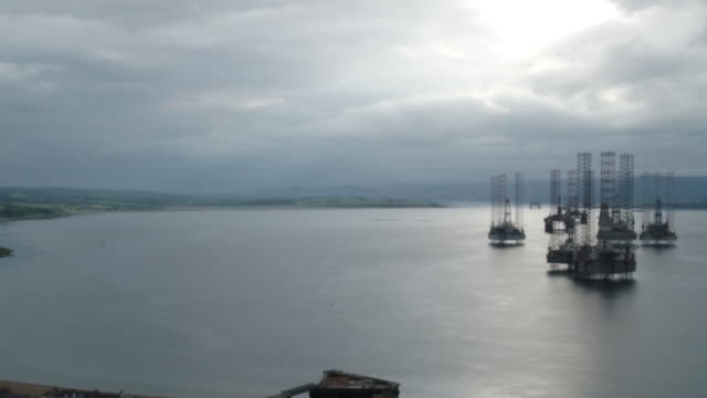 oil rigs anchored in the port of cromarty firth in cromarty scotland uk on tuesday june 23 2020 - anchored stock videos & royalty-free footage