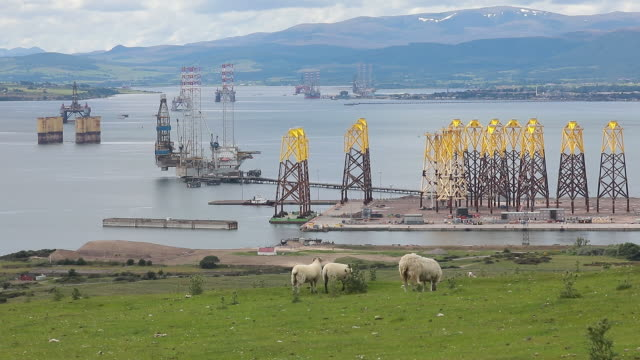 oil rigs anchored in the port of cromarty firth in cromarty scotland uk on tuesday june 23 2020 - 碇を下ろす点の映像素材/bロール