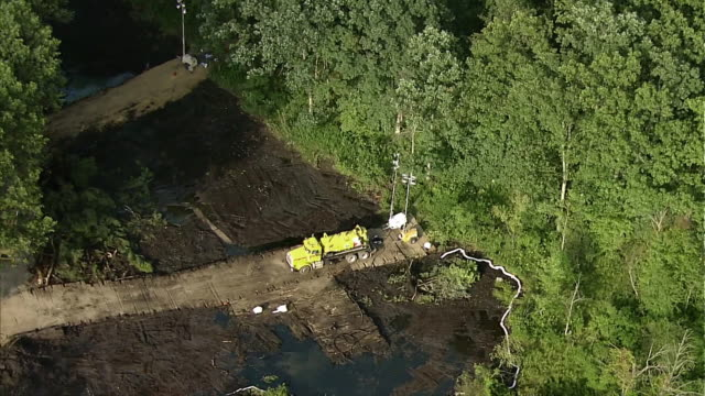 oil spill clean up and recovery / marshall michigan usa - pipeline stock videos and b-roll footage