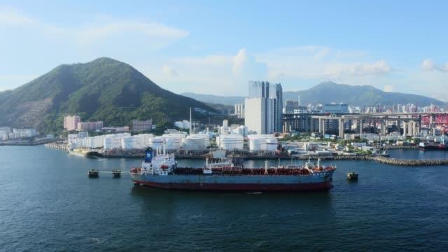 oil tank in hong kong, china - tanker stock videos & royalty-free footage