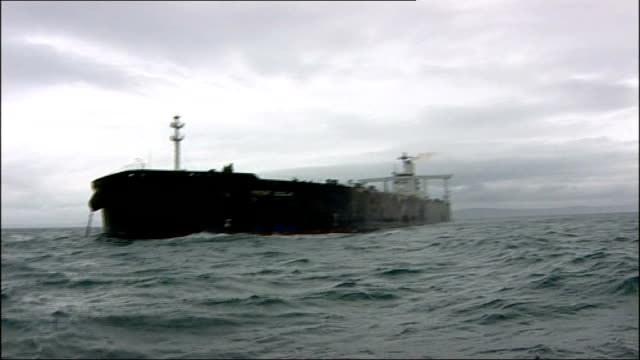 oil tanker anchored front scilla name on bow of tanker tankers at anchor - anchored stock videos & royalty-free footage