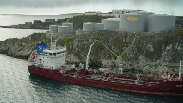 oil tanker at nuuk port in greenland - greenland stock videos & royalty-free footage