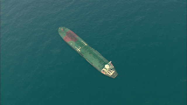 AERIAL WS Oil tanker on sea, Indian Ocean, near Durban, KwaZulu Natal, South Africa