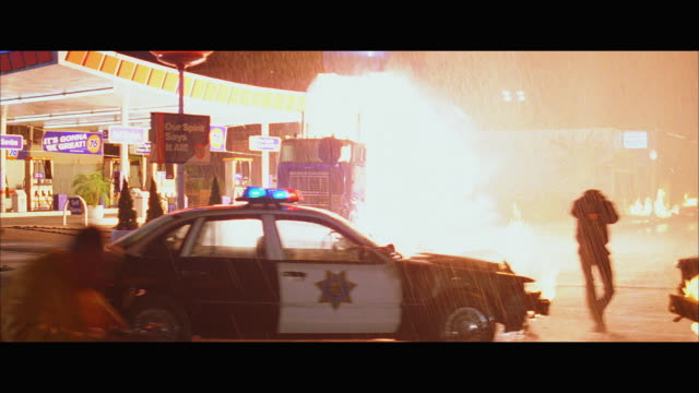 WS DS Oil tanker parked at gas station explodes, flies in air and crashes to ground