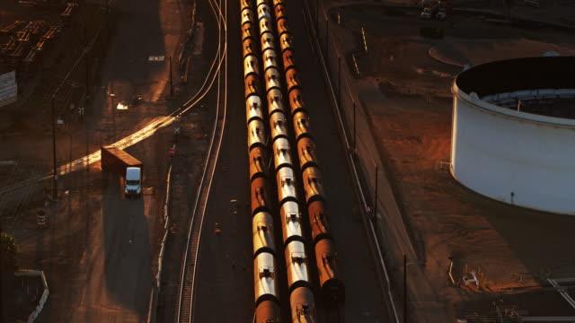 oil tanker train - drone shot - tanker stock videos & royalty-free footage